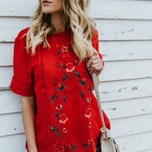 Umgee Red Floral Embroidered Top